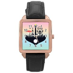 Future City Rose Gold Leather Watch