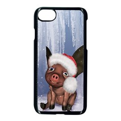 Christmas, Cute Little Piglet With Christmas Hat Apple Iphone 8 Seamless Case (black) by FantasyWorld7