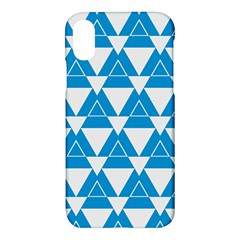 Blue & White Triangle Pattern  Apple Iphone X Hardshell Case by berwies