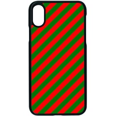Red And Green Christmas Candycane Stripes Apple Iphone X Seamless Case (black) by PodArtist