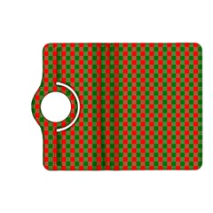 Large Red And Green Christmas Gingham Check Tartan Plaid Kindle Fire Hd (2013) Flip 360 Case by PodArtist