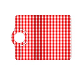 Large Christmas Red And White Gingham Check Plaid Kindle Fire Hd (2013) Flip 360 Case by PodArtist