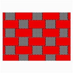 Black And White Red Patterns Large Glasses Cloth by Celenk