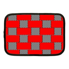 Black And White Red Patterns Netbook Case (medium)  by Celenk