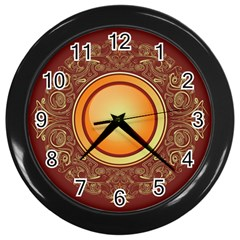 Badge Gilding Sun Red Oriental Wall Clocks (black) by Celenk