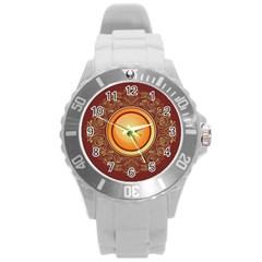 Badge Gilding Sun Red Oriental Round Plastic Sport Watch (l)