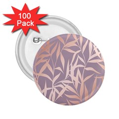 Rose Gold, Asian,leaf,pattern,bamboo Trees, Beauty, Pink,metallic,feminine,elegant,chic,modern,wedding 2 25  Buttons (100 Pack)