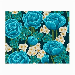 Light Blue Roses And Daisys Small Glasses Cloth by AllThingsEveryone