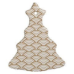 Art Deco,japanese Fan Pattern, Gold,white,vintage,chic,elegant,beautiful,shell Pattern, Modern,trendy Christmas Tree Ornament (two Sides) by 8fugoso