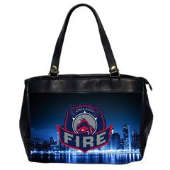 Chicago Fire With Skyline Office Handbags (2 Sides)  by AllThingsEveryone