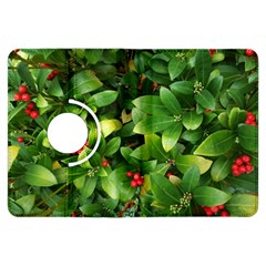 Christmas Season Floral Green Red Skimmia Flower Kindle Fire Hdx Flip 360 Case by yoursparklingshop