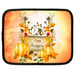 Happy Thanksgiving With Pumpkin Netbook Case (xl)  by FantasyWorld7
