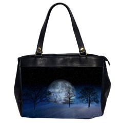 Winter Wintry Moon Christmas Snow Office Handbags (2 Sides)  by Celenk
