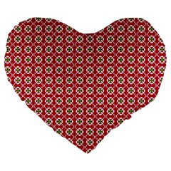 Christmas Wrapping Paper Large 19  Premium Flano Heart Shape Cushions by Celenk