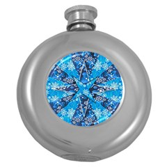 Christmas Background Wallpaper Round Hip Flask (5 Oz) by Celenk