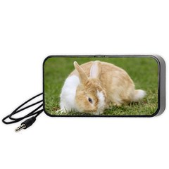 Beautiful Blue Eyed Bunny On Green Grass Portable Speaker