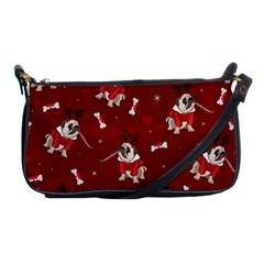 Pug Xmas Pattern Shoulder Clutch Bags by Valentinaart