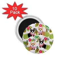 Hula Corgis Fabric 1 75  Magnets (10 Pack)  by Celenk