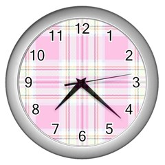 Pink Pastel Plaid Wall Clocks (silver)  by allthingseveryone