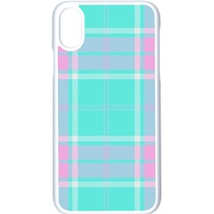Blue And Pink Pastel Plaid Apple Iphone X Seamless Case (white) by allthingseveryone