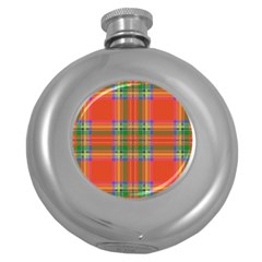 Orange And Green Plaid Round Hip Flask (5 Oz) by allthingseveryone