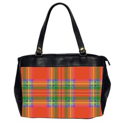 Orange And Green Plaid Office Handbags (2 Sides)  by allthingseveryone
