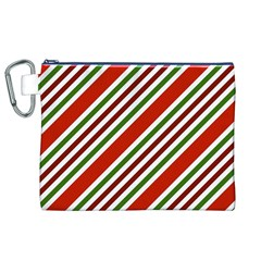 Christmas Color Stripes Canvas Cosmetic Bag (xl) by Celenk