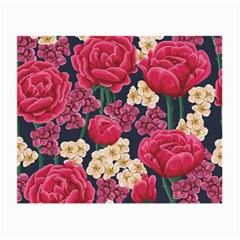 Pink Roses And Daisies Small Glasses Cloth (2 Side) by teambridelasvegas
