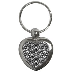 Star Crystal Black White Pattern Key Chains (heart)  by Cveti