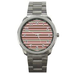Christmas Stripes Pattern Sport Metal Watch