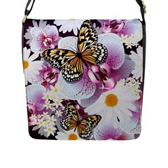 Butterflies With White And Purple Flowers  Flap Messenger Bag (l)  by allthingseveryday