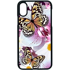 Butterflies With White And Purple Flowers  Apple Iphone X Seamless Case (black) by allthingseveryday