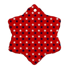 Patriotic Red White Blue Usa Snowflake Ornament (two Sides)