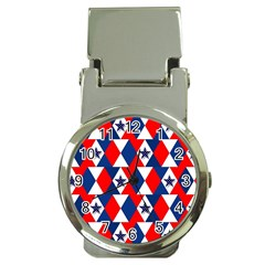 Patriotic Red White Blue 3d Stars Money Clip Watches