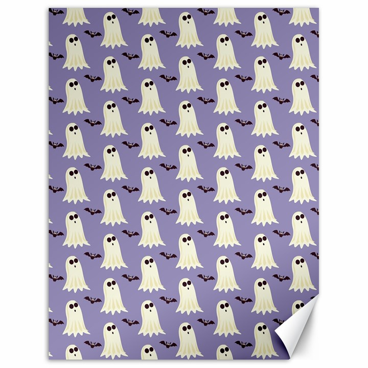 Bat And Ghost Halloween Lilac Paper Pattern Canvas 18  x 24