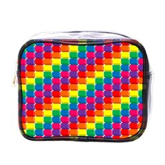 Rainbow 3d Cubes Red Orange Mini Toiletries Bags by Celenk