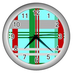 Christmas Plaid Backgrounds Plaid Wall Clocks (silver)  by Celenk