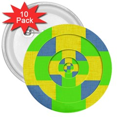 Fabric 3d Geometric Circles Lime 3  Buttons (10 Pack)  by Celenk