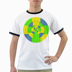 Fabric 3d Geometric Circles Lime Ringer T Shirts by Celenk