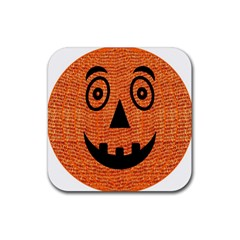 Fabric Halloween Pumpkin Funny Rubber Coaster (square)  by Celenk
