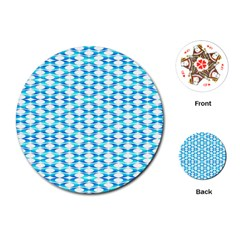 Fabric Geometric Aqua Crescents Playing Cards (round)  by Celenk