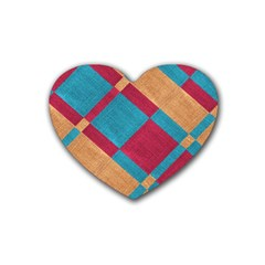 Fabric Textile Cloth Material Rubber Coaster (heart)  by Celenk