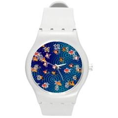 Fish Swim In The Ocean Round Plastic Sport Watch (m)