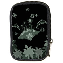 Surfboard With Dolphin, Flowers, Palm And Turtle Compact Camera Cases by FantasyWorld7