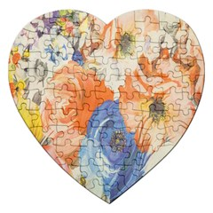 Texture Fabric Textile Detail Jigsaw Puzzle (heart) by Celenk