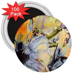 Flower Texture Pattern Fabric 3  Magnets (100 Pack) by Celenk