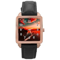 Sunset Dusk Boat Sea Ocean Water Rose Gold Leather Watch