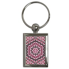 Flower Of Life Pattern Red Grey 01 Key Chains (rectangle)  by Cveti