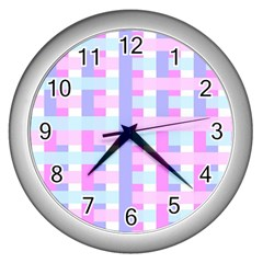 Gingham Nursery Baby Blue Pink Wall Clocks (silver)  by BangZart