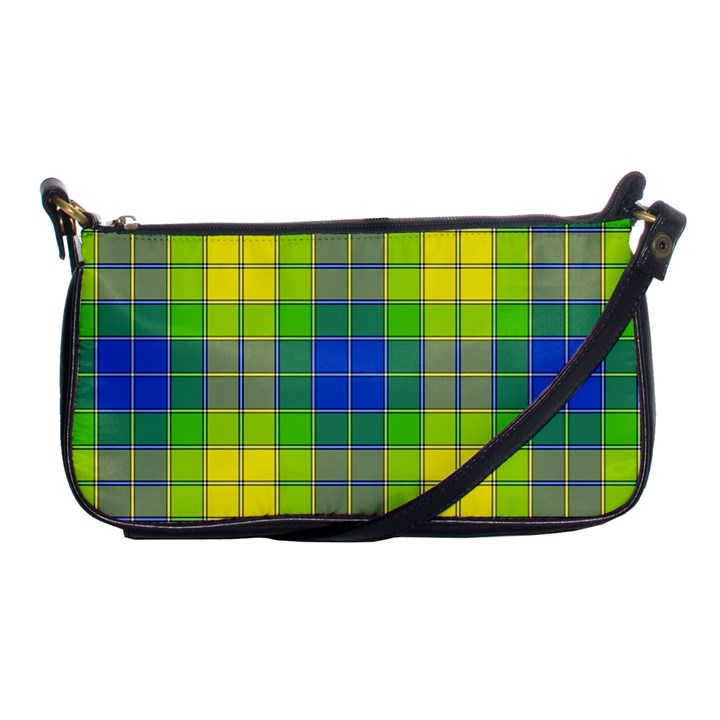 Spring Plaid Yellow Blue And Green Shoulder Clutch Bags